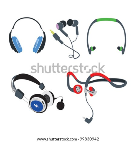 Set of vector headphones on white background