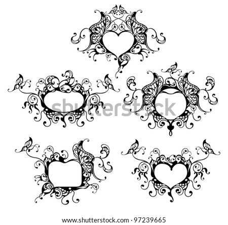 set of vector heart frame with butterfly - stock vector