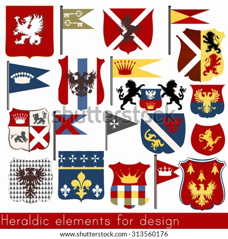 Set of vector heraldic elements shields, flags, crowns and other - stock vector