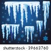 Set of vector icicles for design - stock vector