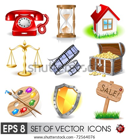 Set of vector icons - stock vector