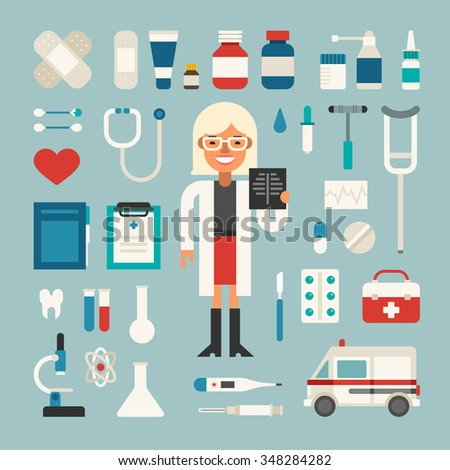 Set of Vector Icons and Illustrations in Flat Design Style. Profession Medicine Doctor. Female Cartoon Character Surrounded by Medical Appliances  - stock vector