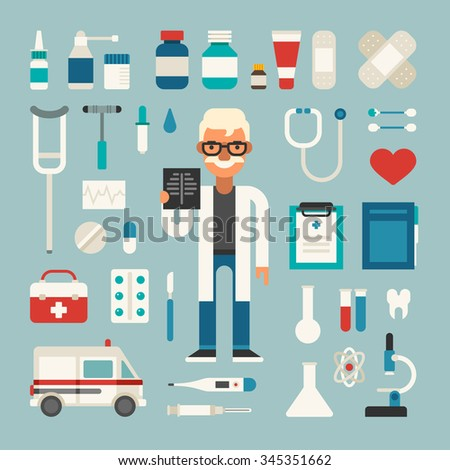 Set of Vector Icons and Illustrations in Flat Design Style. Profession Medicine Doctor. Male Cartoon Character Surrounded by Medical Appliances  - stock vector