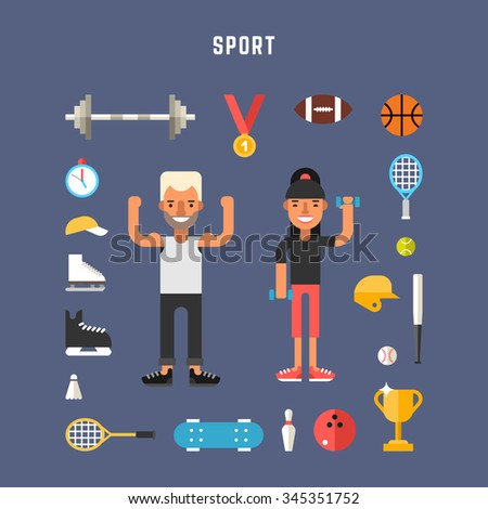 Set of Vector Icons and Illustrations in Flat Design Style. Sport Concept. Male and Female Cartoon Character Sportsmans Surrounded by Kitchen Appliances and Food - stock vector