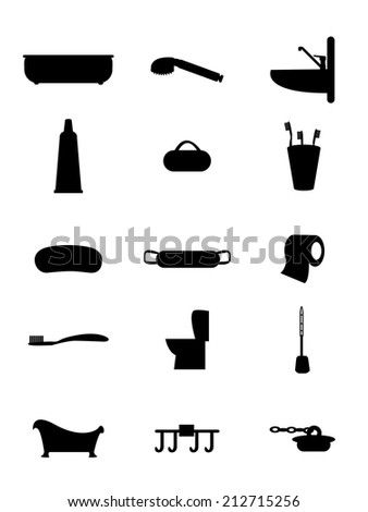 Set of vector icons bath and toilet rooms for everyday use - stock vector