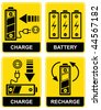 Set of vector icons - charging and recharging the accumulator battery. Yellow and black. Pictograms. - stock