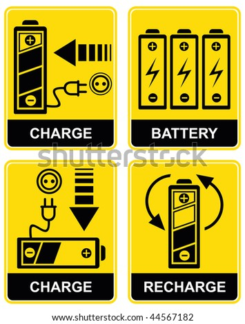 Set of vector icons - charging and recharging the accumulator battery. Yellow and black. Pictograms. - stock vector