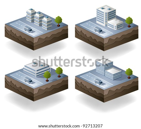Set of vector icons - city theme - stock vector