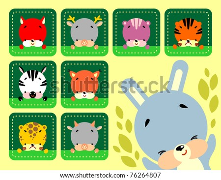 Set of vector icons cute various animals - stock vector