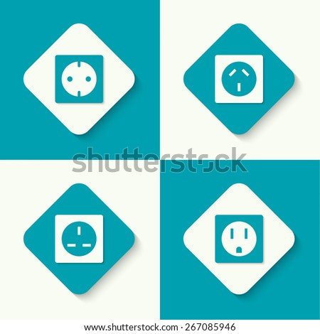 Set of vector icons electrical sockets of different standards. Mobile and web applications. flat design - stock vector