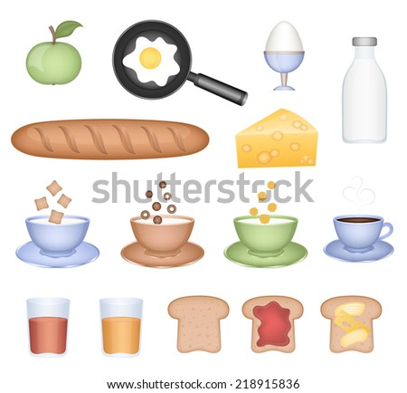 Set of vector icons (food for breakfast) - stock vector