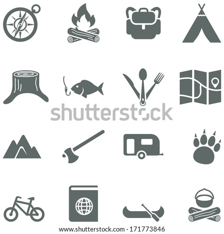 Set of vector icons for tourism, travel and camping.  - stock vector