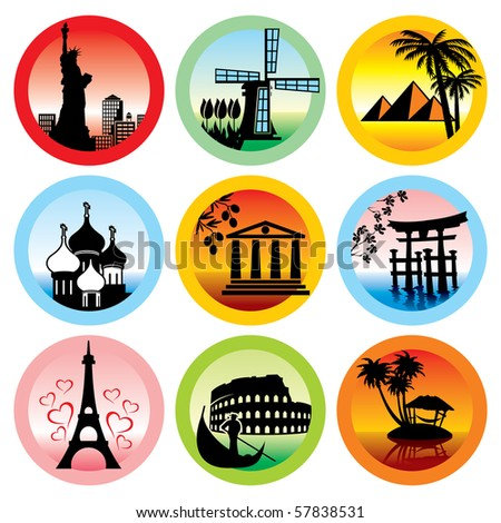 set of vector icons for travel to various countries - stock vector