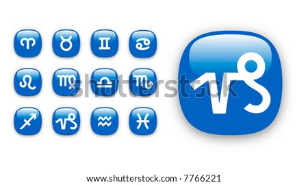 Set of vector icons for twelve astrological zodiac signs - stock vector