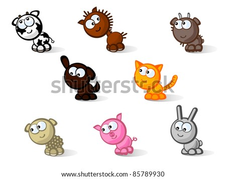 Set of vector icons isolated. Cute farm animals. Childcare's comic style drawings.