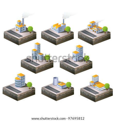 Set of vector icons isometric to the city theme - stock vector