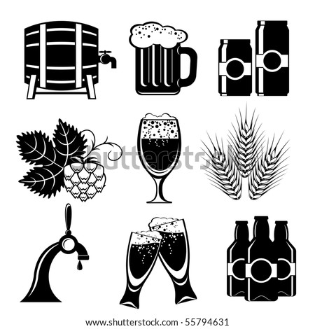 set of vector icons of beer - stock vector