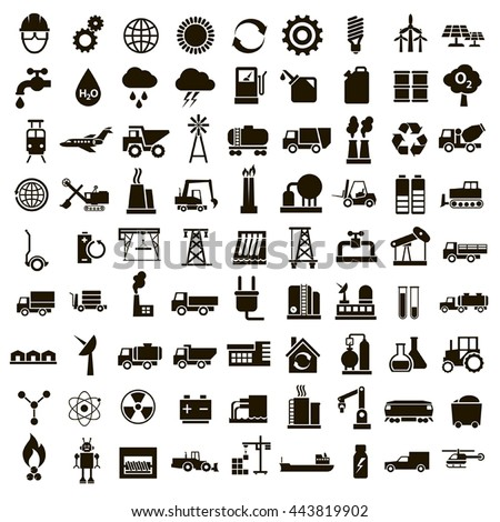 Set of 81 vector icons of black industry and technology on a white background