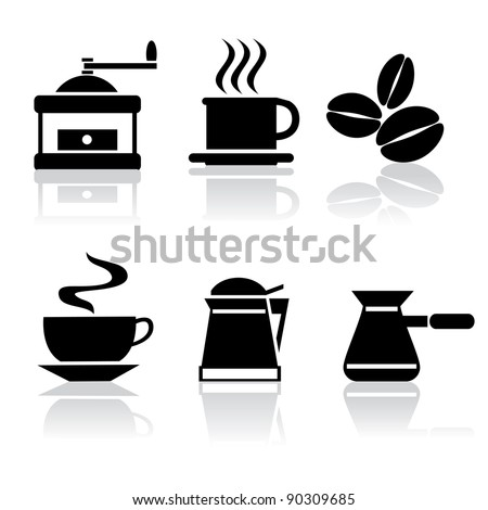 set of vector icons of coffee - stock vector