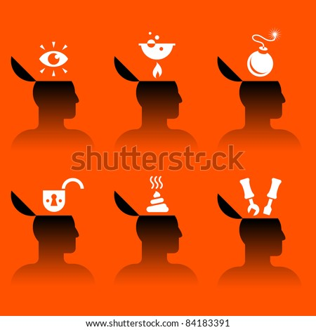 set of vector icons of human head with various objects