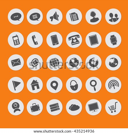 set of vector icons of multimedia - stock vector