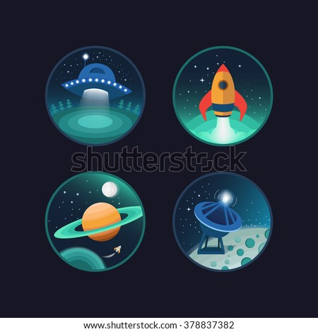 Set of vector icons of space. Flat icons. Ufo, planets, moon, rocket, satellite. Illustration on the theme of space and galaxies. - stock vector