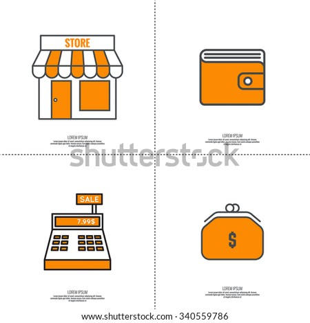 Set of vector icons pictograms in flat style of mobile and web applications. minimal, outline. Purse, shop, cash desk, Wallet. concept of E-commerce - stock vector