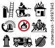 set of vector icons stencil. Fire safety and means of salvation. - stock vector