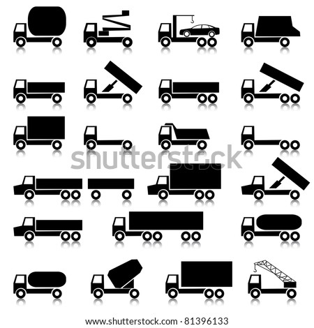 Set of vector icons - transportation symbols.  Black on white. Cars, vehicles. Car body.