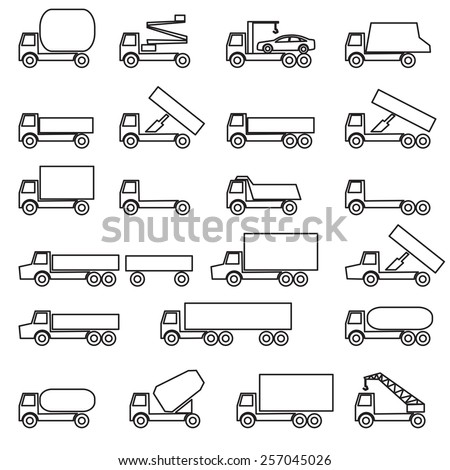Set of vector icons - transportation symbols. Black on white. Vector illustration.
