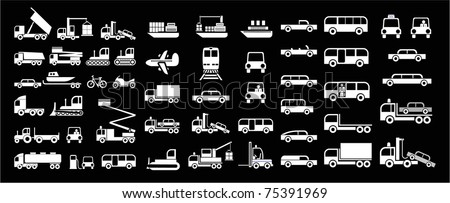 Set of vector icons - transportation symbols. White on black. Cars, vehicles, ships, planes. Car body. - stock vector
