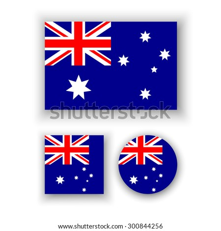 Set of vector icons with Australia flag - stock vector