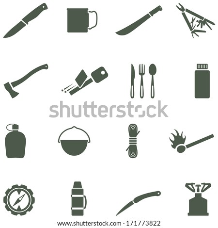 Set of vector icons with camping equipment and accessories.  - stock vector