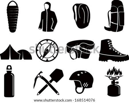 Set Of Vector Icons With Different Outdoor Gear