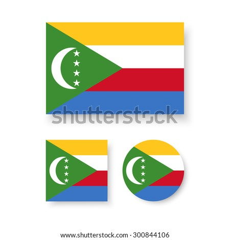 Set of vector icons with flag of the Union of the Comoros