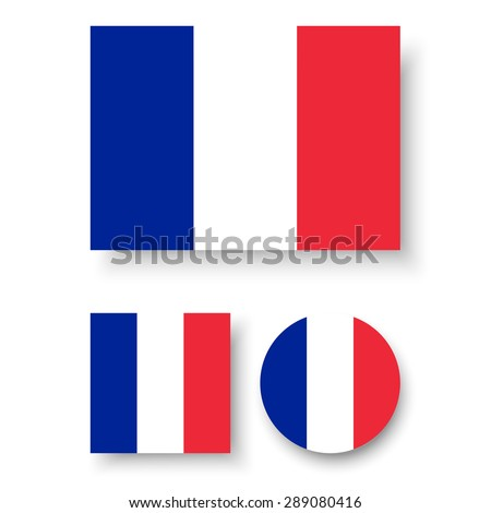 Set of vector icons with France flag - stock vector