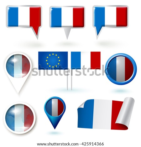 Set of vector icons with France flag theme - stock vector