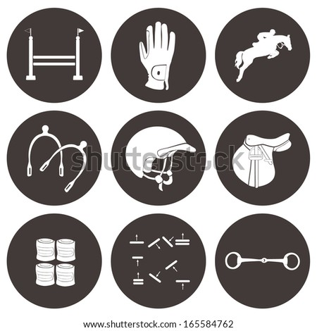 stock-vector-set-of-vector-icons-with-jumping-horse-equipment-high