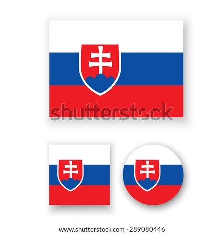 Set of vector icons with Slovakia flag