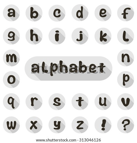 Set of vector icons with the letters of the English alphabet - stock vector