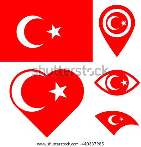 Set Vector Icons Turkey Flag Eye Stock Vector Hd Royalty Free