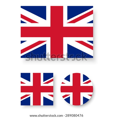 Set of vector icons with United Kingdom flag - stock vector