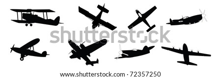 set of vector illustrated propeller powered aircraft - stock vector