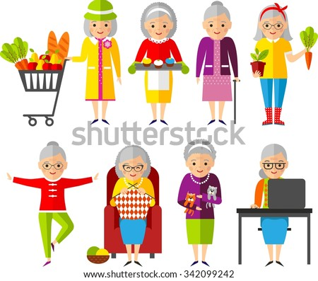 Set of vector Illustration a group of old woman in different situations. Leisure time elderly : knitting, yoga, sports, cooking, gardener, buyer, the work at the computer.  - stock vector