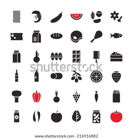 Set of vector illustration black icons for food and drinks, vegetables, fruits, seafood, isolated on white background. For retail store, grocery, food production, farm business  - stock vector