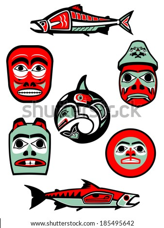 Set of vector illustrations based on Native designs from the Northwest coast of North America. - stock vector