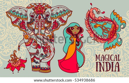 set of vector illustrations for magical india: cute woman, elephant, paisley