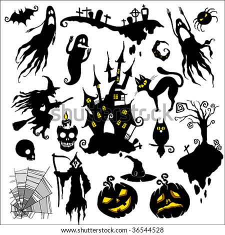 set of vector illustrations. halloween theme - stock vector