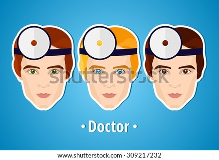 Set of vector illustrations of a doctor. Doctor. The man's face. Icon. Flat icon. Minimalism. The stylized Man. Occupation. Job. Uniforms, cap.  - stock vector