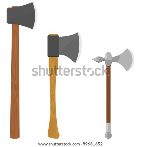 Set of vector illustrations of axes
